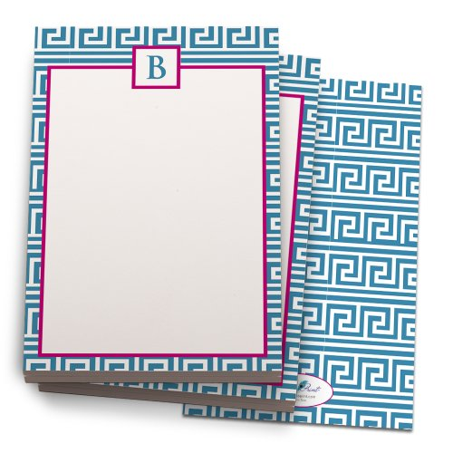 blue-and-hot-pink-greek-note-pad-with-b-monogram-24-luxe-cover-stock-sheets-per-set-2-pack