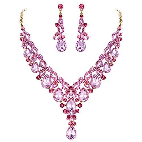 EVER FAITH Women's Pear Shaped Crystal Gorgeous Banquet Floral Vine Necklace Earrings Set Pink Gold-Tone