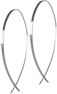 product image for Upside Down Hoop Flat White Gold and Diamond Earrings - Lana Jewelry