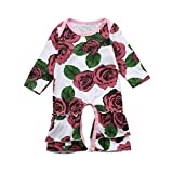 FEITONG Infant Baby Toddler Girls Long Sleeve Floral Print Ruffle Romper Jumpsuit Outfits