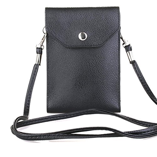 Galaxy Vintage Shoulder Bag (PU Leather 2 Layers Vertical Cellphone Pouch Bag with Shoulder Strap and Magnetic Button for Apple iPhone Samsung Galaxy and Other Smartphone Black)
