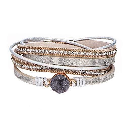 (CCFAMILY Multi Layer Leather Bracelet Braided Wrap Cuff Bangle with Alloy Magnetic)