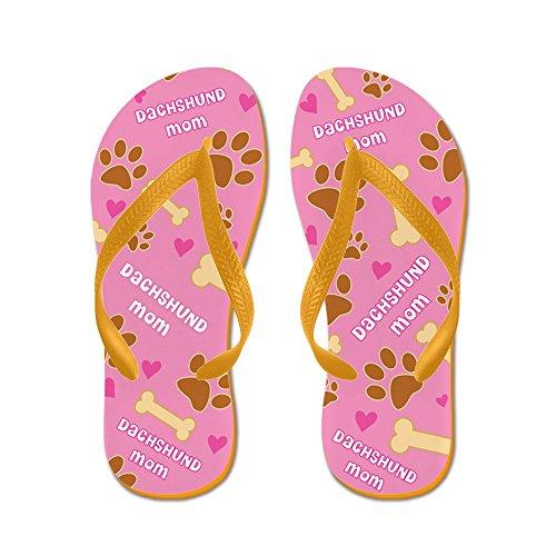 Cafepress Dachshund Moeder Cadeau - Flip Flops, Grappige String Sandalen, Strand Sandalen Oranje