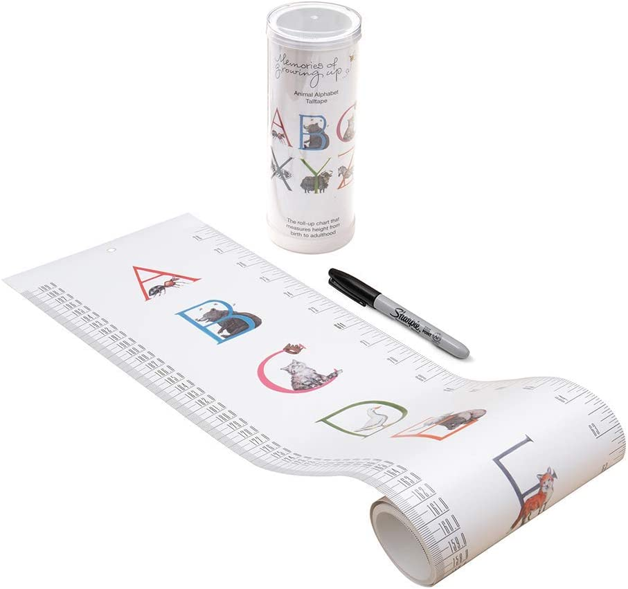 TALLTAPE - Portable, Roll-up Height Chart Plus 1 Sharpie Marker Pen to Measure Children from Birth, Choice of 10 Designs, a Memento for Life (Large Talltape, Luxury Animal Alphabet)