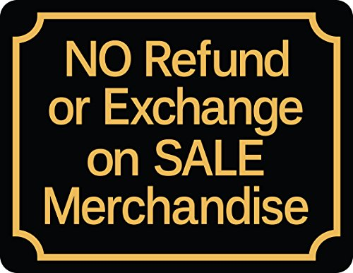 Retail Store Policy Sign NO Refund or Exchange on Sale Merchandise - Policy Store