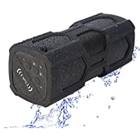 CHOI X Portable Sport Bluetooth Speaker Outdoor Waterproof Wireless 10W Stereo Bass Sound Speaker with 12 Hours Playtime Built-in Mic 4000mAh Battery Power Bank for Pool Party Camping Bicycle -Black