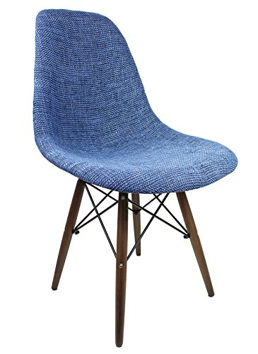 Ariel DSW Fabric Upholstered Mid-Century Eames Style Accent Chair with Dark Walnut Wood Eiffel Legs, Blue - Designer Style Fabric Upholstered Chair