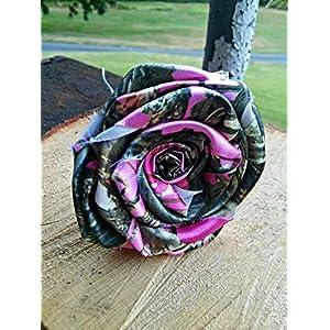 6 Pink Camo Fabric Flowers, Pink Bridal Satin Camo, DIY Bride, Build A Bouquet, Camouflage Wedding, Rose Centerpiece 89