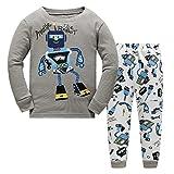 Robot Little Boys Pajamas Sets 2 Piece 100% Cotton Sleepwear Toddler Kid Nightgown