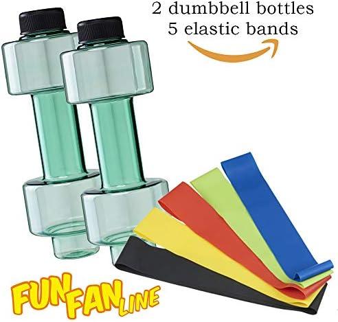 FUN FAN LINE - Pack x2 Botellas mancuerna de Medio Kilo o Capacidad 500 ml Cada una + 5 Bandas elásticas, Cada Resistencia para Hacer Ejercicio en casa y Mejorar tu Fuerza.: