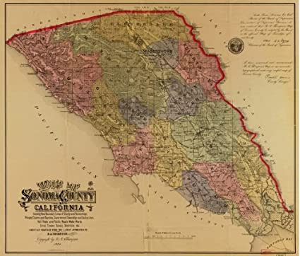 Amazon.com: 1884 Map of Sonoma County, California : showing ... on