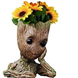 B-Best Guardians of The Galaxy Groot Pen Pot Tree Man Pens Container Or Flowerpot with Drainage Hole Perfect for a Tiny Succulents Plants and Best Gift Idea 6''