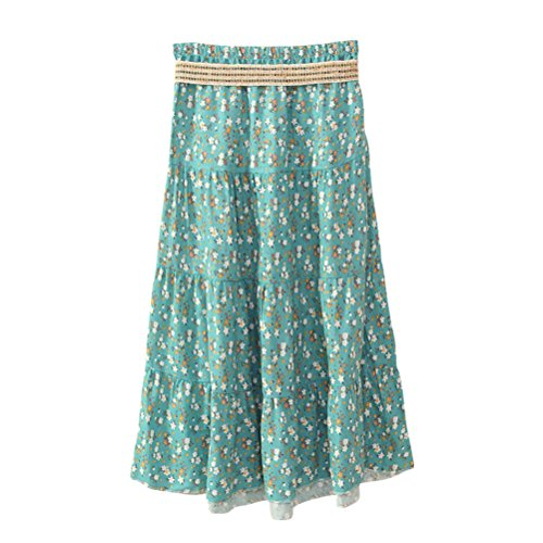 J.Cotton Women's Bohemian Style Color-printed Flax Belted Skirt Multi-Color 11