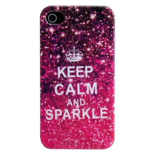 Apple iPhone 4 4S TPU HQ KEEP SPARKLE Design Schutz Handy Hülle Case Tasche Etui Bumper Silikon thematys®