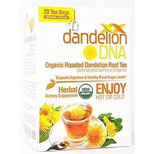 DandelionDNA Roasted Dandelion Root Tea USDA Organic 20 Tea Bas