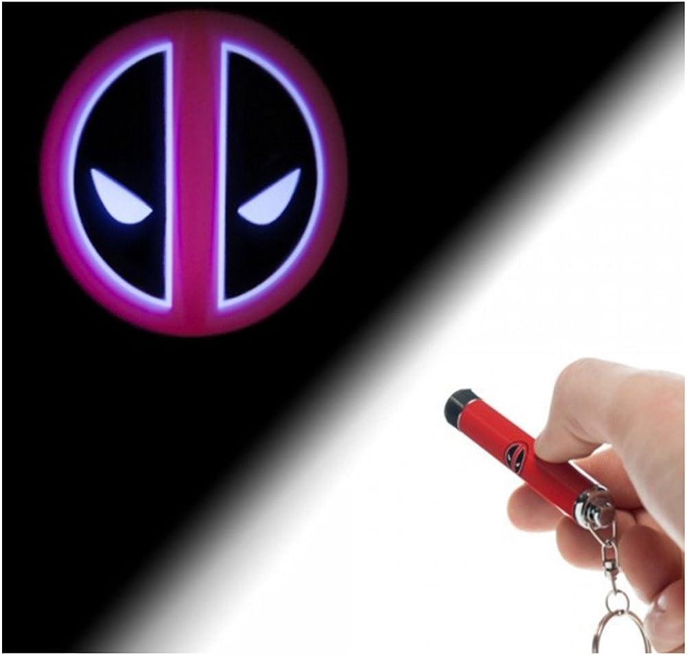 Marvel Logo linterna de la proyección Deadpool llavero con muñeca ...