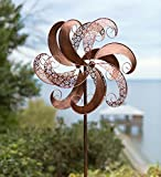 Outdoor Windmill Metal Garden Wind Spinner with Antique Copper Finish Yard Garden Decor 24 dia. x 10.25 D x 75 H