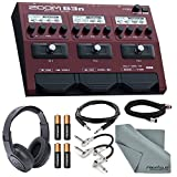 Zoom B3n Multi-Effects Processor for Bassists Bundle with XLR, TRS & Guitar Patch Cable + Headphones + Batteries + FiberTique Cloth