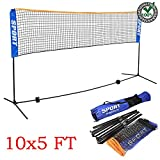 All in 1 Portable Badminton Volleyball Tennis Soccer Net with Adjustable Height Pole Stand - Lightweight 10 Foot Long 5 Foot High PVC Net & Steel Stand | Perfect for Family Sport Indoor Outdoor Games