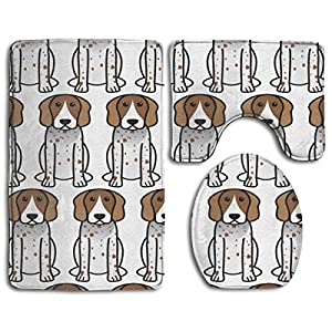 NiYoung 3 Pieces Bathroom Rugs Carpets Set, Absorbent Non-Slip U-Shaped Toilet Rug Toilet Seat Cover Mat and Bath Rug for Tub, Shower and Bathroom, American English Coonhound Cartoon 2