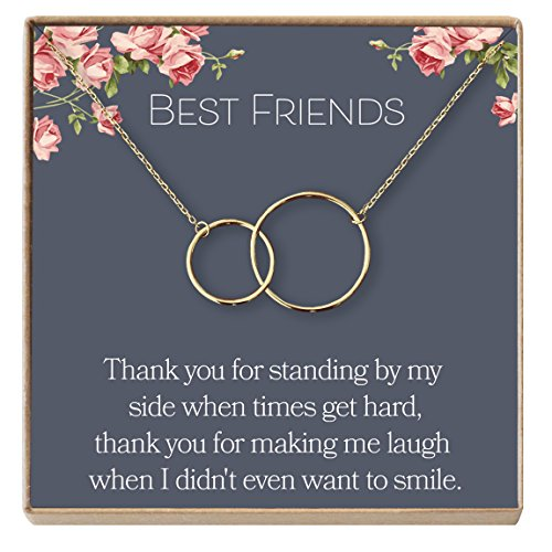 Dear Ava Best Friend Necklace: BFF Necklace, Jewelry, Long Distance, Quotes, Friends Forever, 2 Interlocking Circles (Gold-Plated-Brass, NA)