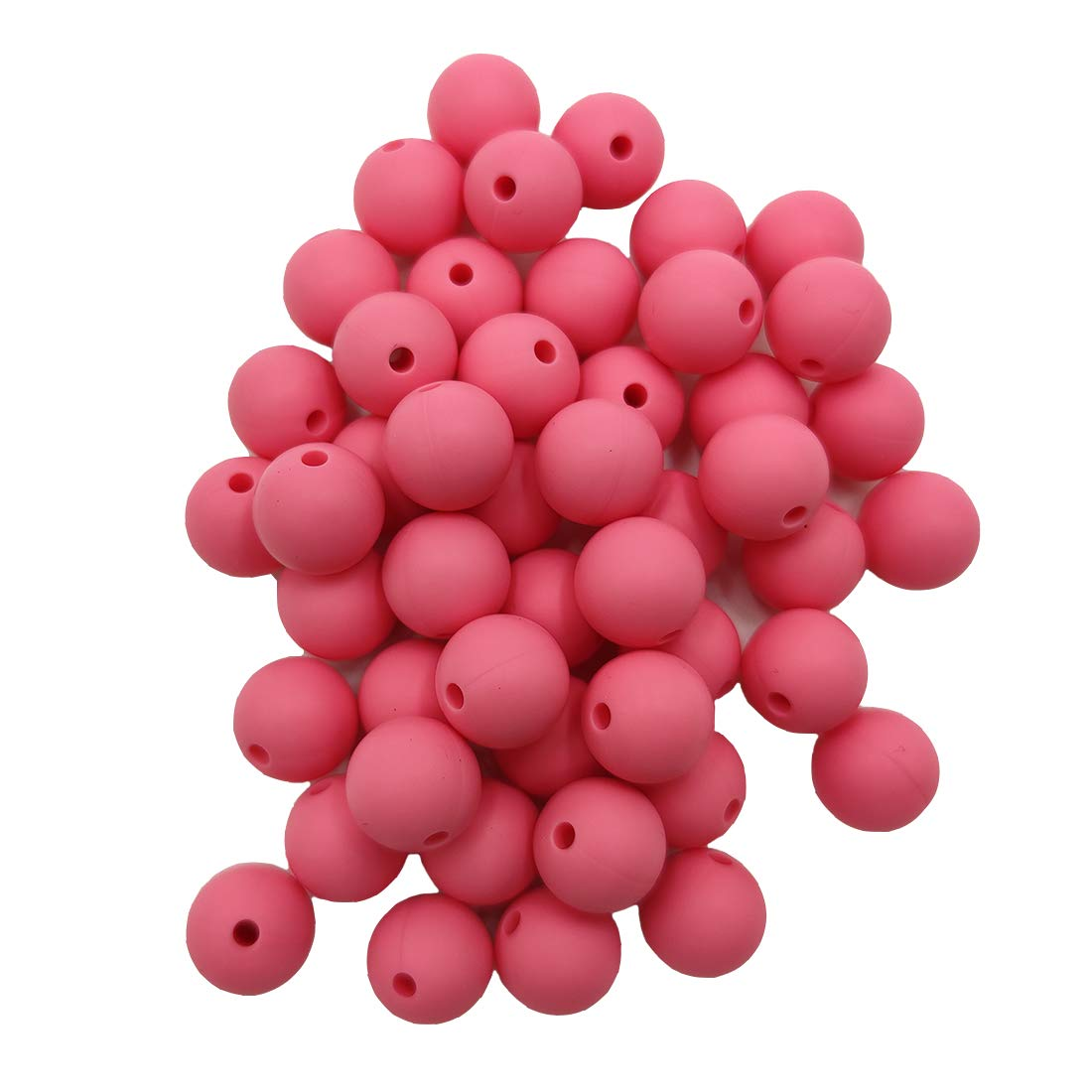 50pcs Baby Pink Color Silicone Round Beads Sensory 15mm Silicone Pearl Bead Bulk Mom Necklace DIY Jewelry Making Decoration