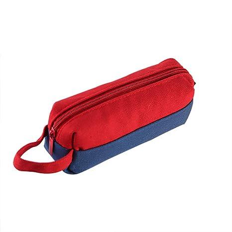 Scrox 1 Pieza Estuches Escolares de Chicas Moda Simple Estuches Kawaii Canvas Bolsa de Lápices Gran Capacidad Plumas Estuche Cremalleras (Rojo Azul)