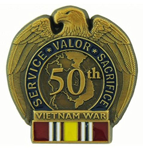 (50th Anniversary Vietnam War Pin with National Defense Ribbon )