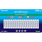 Panasonic BK-4MCCA16FA eneloop AAA 2100 Cycle Ni-MH Pre-Charged Rechargeable Batteries, 16 Pack - BK-4MCCA16BA