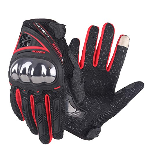 Motorcycle Cycling Riding Gloves With Touch Screen Full Figures For Mtb ATV Racing Sports Men Warm Outdoor Gloves (XL, Red)