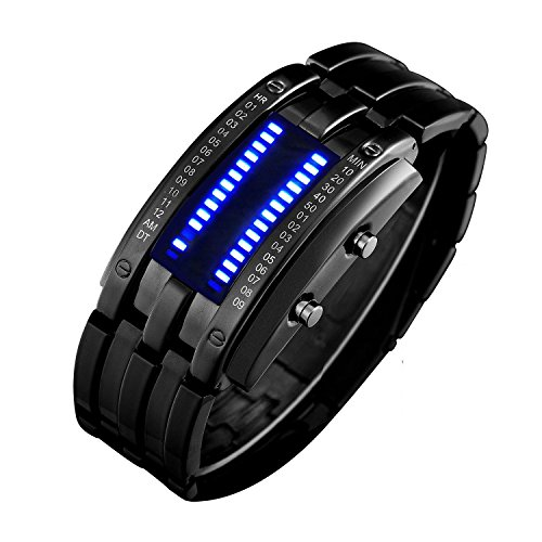 Hiwatch Classic Creative Fashion Plated Black Binary Matrix Blue Led Digital Waterproof Watch Mens Wrist Watches With Gift Box