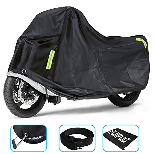 Bliifuu Motorcycle Cover Upgraded for Outdoor Protection All Weather All Season Waterproof/Dustproof Universal for Harley Davidson Honda Suzuki Kawasaki Yamaha Bike up to 104inch(Black)