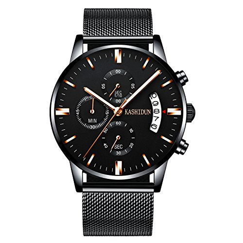 KASHIDUN Men Watch Casual Quartz Waterproof Luminous Chronograph Calendar Date Alloy Bracelet.TL-JzHsd