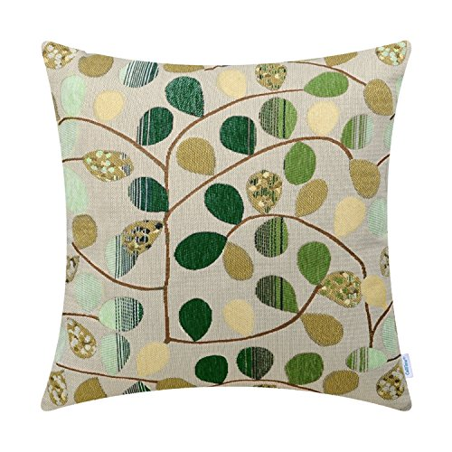CaliTime Cushion Cover Throw Pillow Case Shell for Couch Sofa Home Decoration Luxury Chenille Cute Leaves Both Sides 20 X 20 Inches Ecru Green (Sofa Pillows Green)