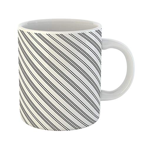 Emvency Coffee Tea Mug Gift 11 Ounces Funny Ceramic Black Diagonal Lines Striped Pattern Symmetrical Linear Stripes Fills Gifts For Family Friends Coworkers Boss Mug ()