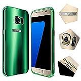 For samsung galaxy s7 Edge Case,JUN-Q® Luxury Air Aluminum Metal Bumper Detachable + Scrub Hard Back Case 2 in 1 protect cover for samsung galaxy s7 Edge(Green)