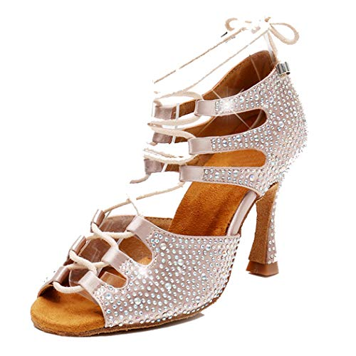 TDA Women's Sexy Lace-up Peep Toe Beige Crystals Satin Salsa Tango Ballroom Latin Dance Shoes 7 M US