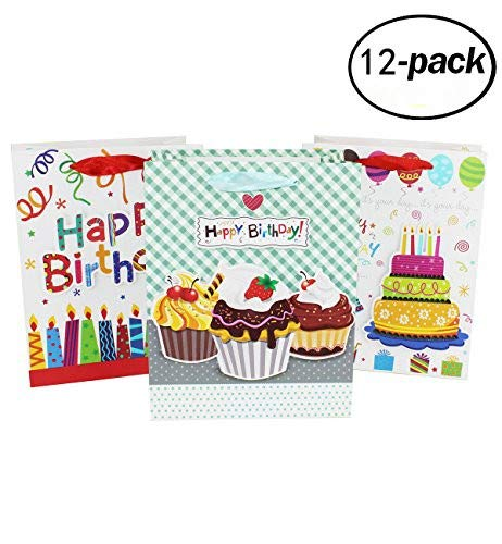 Happy Birthday Gift Bag 12 Pcs Set Of Reuseable Paper Medium Size Party Bags Cute Kids Pink Blue Cardboard First 1st Bday