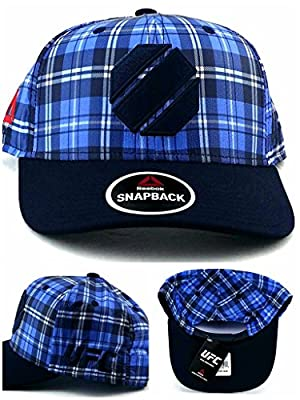 Reebok UFC MMA New Fighter's Blue Navy Octagon Fight Plaid Era Snapback Hat Cap by Reebok