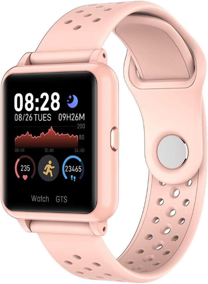 LJHLJH Rastreador de Ejercicios soporta Multi-Deporte de Modo y Ritmo cardíaco Sangre del sueño Control de Presión de 1,3 Pulgadas de Pantalla táctil GPS Reloj Deportivo de la Mujer del Hombre Rosa