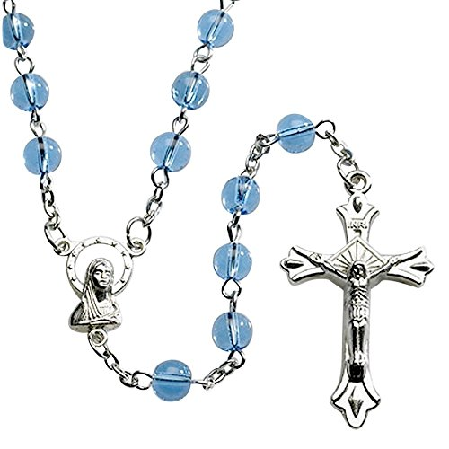 Italian Blue Glass Bead Rosary Untier of Knots Centerpiece includes Silk Knotted Bracelet with Medal and Crucifix and a Blessed Prayer Card