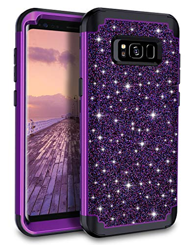 Casetego Compatible Galaxy S8 Case,Glitter Sparkle Bling Three Layer Heavy Duty Hybrid Sturdy Armor Shockproof Protective Cover Case for Samsung Galaxy S8,Shiny Purple (Best S8 Phone Case)
