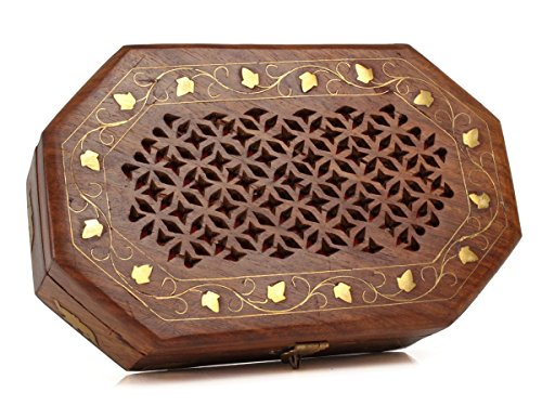 Thanksgiving Box Jewelry Keepsake Trinket Organizer Hand Carved Wooden Organizer with Intricate Carvings by Store Indya by storeindya (Image #3)