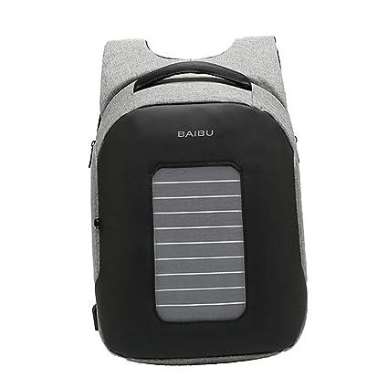 F Fityle Mochila con Panel Solar 5.3V Cargador USB Impermeable para Ordenador Portátil Teléfono Móvil