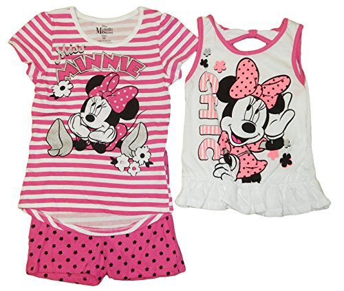 Disney Minnie Mouse Little Girls 3Piece Short Set Pink/White (5, Stripe Pink/White) (Minnie Outfit)