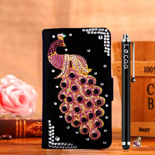 Locaa(TM) LG Optimus L70 LGL70 D320 3D Bling Peacock Case + Phone stylus + Anti-dust ear plug Deluxe Luxury Crystal Pearl Diamond Rhinestone eye-catching Beautiful Leather Retro Support bumper Cover Card Holder Wallet Cases [Peacock Series] Black case - Purple peacock