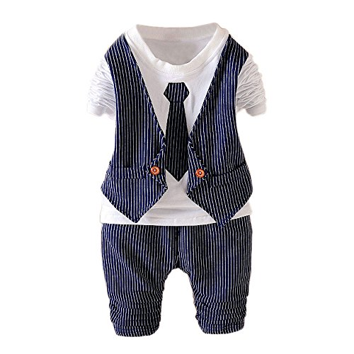 2PC Toddler Infant Boys Clothes Outfit Kids Baby Boy Wedding Formal Suit Outfits Sets Nave Blue M(1-2Years)90