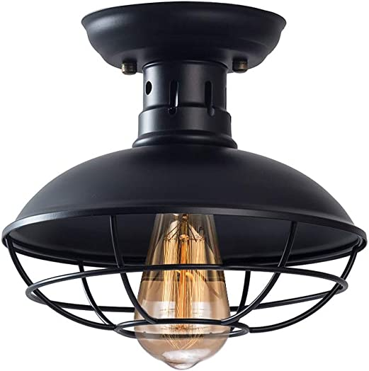 Industrial Metal Cage Ceiling Light, Rustic Mini Semi Flush Mounted Pendant Lighting Dome Bowl Shaped Lamp Fixture Farmhouse Style for Foyer Kitchen Garage Porch Entryway, Black