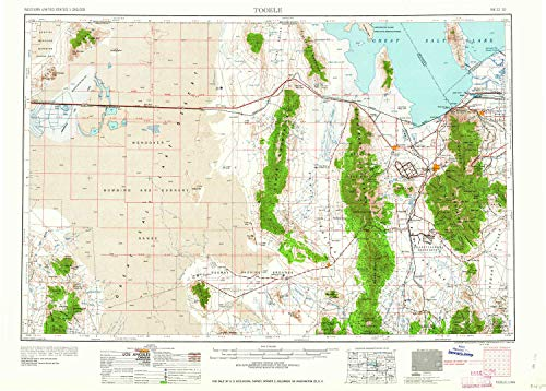 YellowMaps Tooele UT topo map, 1:250000 Scale, 1 X 2 Degree, Historical, 1955, Updated 1958, 21.9 x 30.6 in - Tyvek