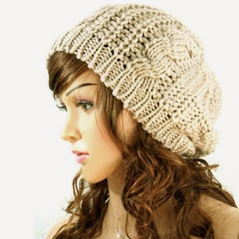 JOVANA New Arrival Top Fashion Winter Warm Women Lady Yong Girls Baggy Beret Chunky Knit Knitted Braided Beanie Hat Ski Cap Crochet Knitted Hat Knitted Crochet Oversized Slouch Hat for Women (Beige)